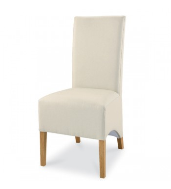 Bentley Designs Lyon Oak Ivory faux leather Dining Chair