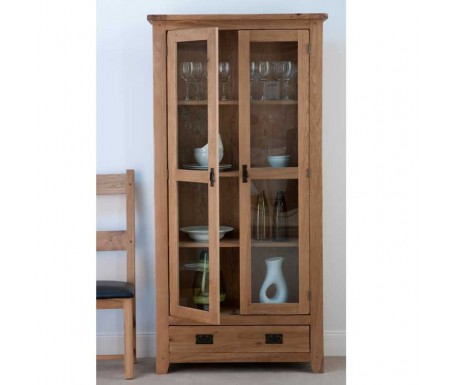 Cabos Solid Oak Glazed Display Cabinet
