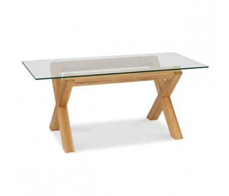 Lyon Oak Glass Dining Table