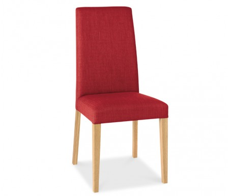 Bentley Designs Miles Oak Red Fabric Dining Chair