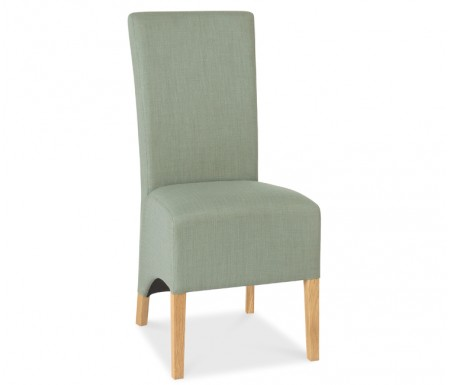 Bentley Designs Nina Oak Wing Back Aqua Fabric Dining Chair