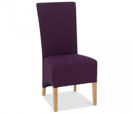 Bentley Designs Nina Oak Wing Back Plum Fabric Dining Chair