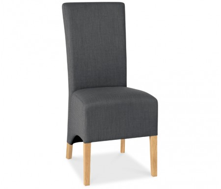Bentley Designs Nina Oak Wing Back Steel Fabric Dining Chair