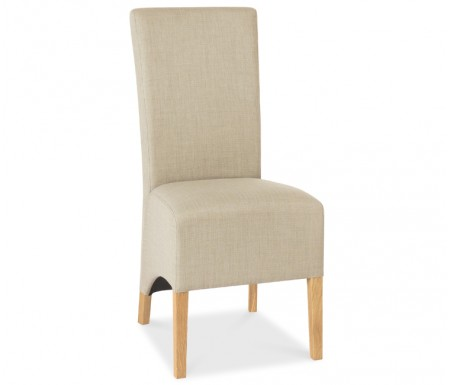 Bentley Designs Nina Oak Wing Back Stone Fabric Dining Chair