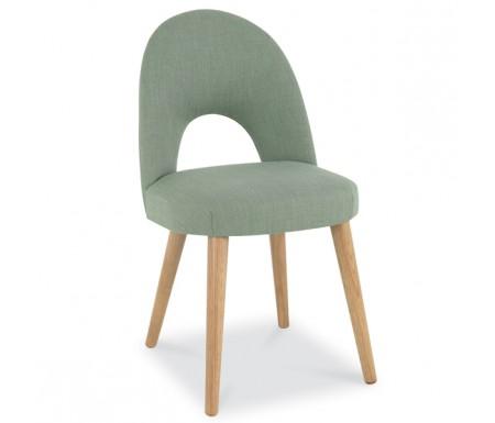 Bentley Designs Oslo Oak Aqua Fabric Upholstered Dining Chair