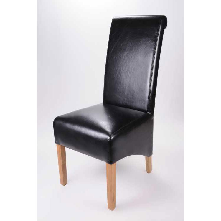 Buy The Krista Black Leather Dining Chair Ascendi