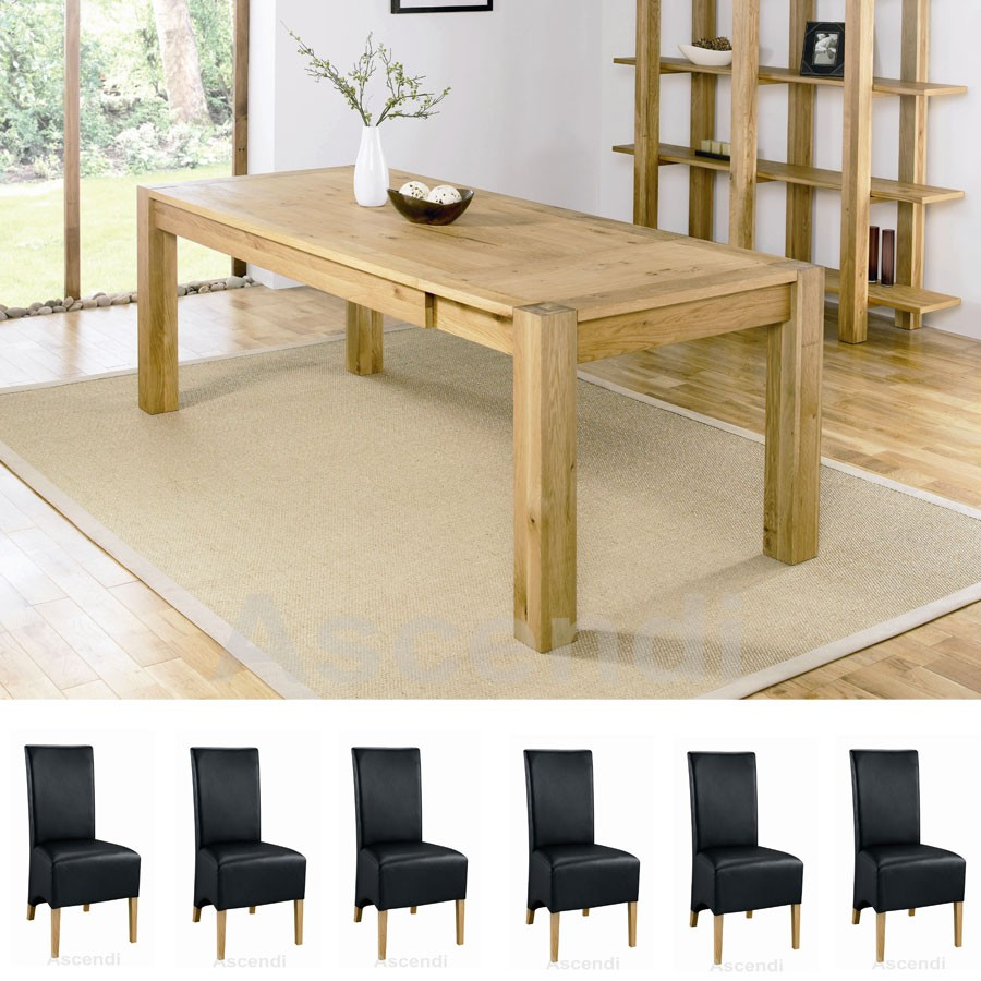 Bentley Designs Lyon Oak 150cm Extending Dining Table With 6 Black Wing Back