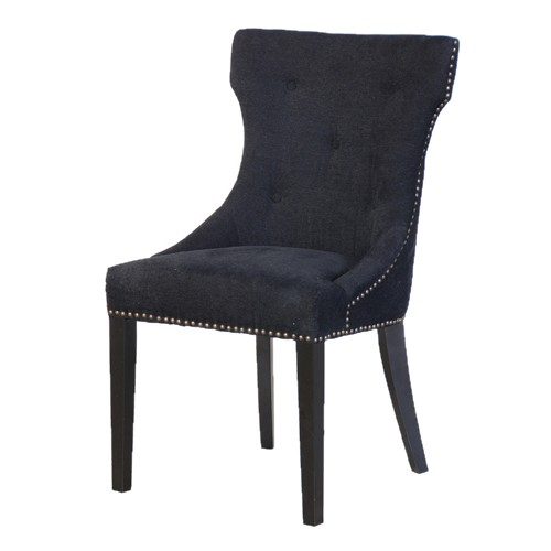 Satina black upholstered dining chair for Black fabric dining room chairs