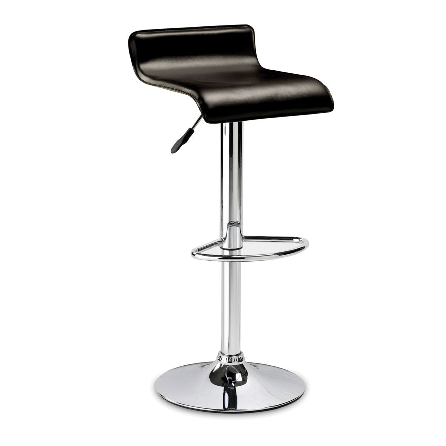 Julian Bowen Stratos Faux Leather and Chrome Bar Stool  : stratos black bar stool1 from www.leatherdiningchairs.co.uk size 900 x 900 jpeg 41kB