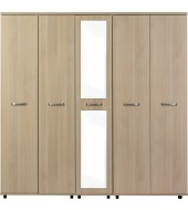 Solo Light Oak 5 Door Wardrobe with Centre Mirror