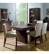Akita Walnut Six Seat Panel Dining Set - Square Back Ivory Chairs