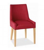 Bentley Designs Ella Oak Scoop Back Red Fabric Dining Chair