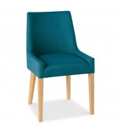 Bentley Designs Ella Oak Scoop Back Teal Fabric Dining Chair