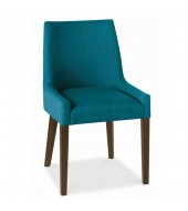 Bentley Designs Ella Walnut Scoop Back Teal Fabric Dining Chair