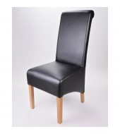 Krista Soft Black Madras Leather Dining Chair
