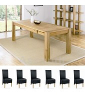 Bentley Designs Lyon Oak 150cm Extending Dining Table with 6 Black Wing Back Dining Chairs