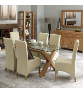 Bentley Designs Lyon Oak Glass Dining Set with Faux Leather Chairs