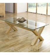 Bentley Designs Lyon Oak Glass Coffee Table