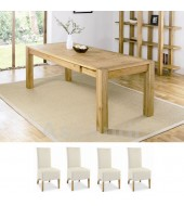 Bentley Designs Lyon Oak 150cm Extending Dining Table with 4 Ivory Back Dining Chairs