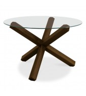 Bentley Designs Lyon Walnut Round Glass Top Dining Table