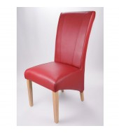 Marseille Madras Burgundy Leather Dining Chair