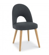 Bentley Designs Oslo Oak Steel Fabric Upholstered Dining Chair