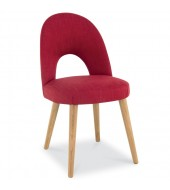 Oslo Walnut Red Fabric Upholstered Dining Chair
