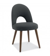 Bentley Designs Oslo Walnut Charcoal Fabric Upholstered Dining Chair