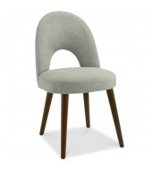 Bentley Designs Oslo Walnut Linen Fabric Upholstered Dining Chair