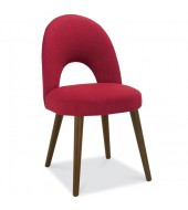 Bentley Designs Oslo Walnut Red Fabric Upholstered Dining Chair