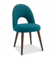 Bentley Designs Oslo Walnut Teal Fabric Upholstered Dining Chair