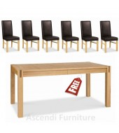 Extending dining table with 6 leather chairs