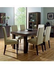 Akita Walnut Six Seat Panel Dining Set - Tapered Back Ivory Chairs