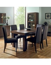 Akita Walnut Six Seat Panel Dining Set - Tapered Back Brown Chairs