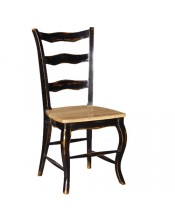 Noir Ladder Back Dining Chair with Solid Seat