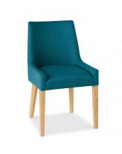 Bentley Designs Ella Oak Scoop Back Teal Fabric Dining Chair