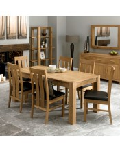 Bentley Designs Lyon Oak Dining Set with Slatted Chairs
