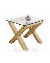 Bentley Designs Lyon Oak Glass Lamp Table