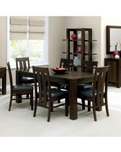 Bentley Designs Lyon Walnut Dining Set Complete with 6 Slatted Dining Chairs