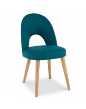 Bentley Designs Oslo Oak Teal Fabric Upholstered Dining Chair