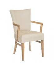 Weathered Oak Armchair With Linen Upholstery