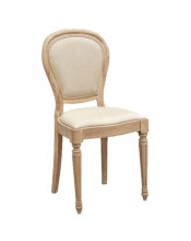 Rustic Oak Chair Weathered Effect With Linen Upholstery