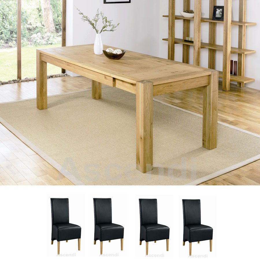 Bentley Designs Lyon Oak 150cm Extending Dining Set With 4 Black Wing Back Dining Chairs