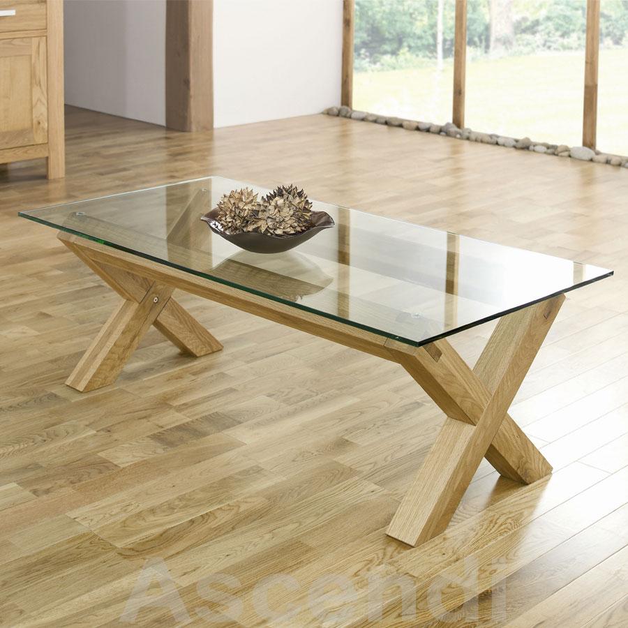Bentley Designs Lyon Oak Glass Coffee Table