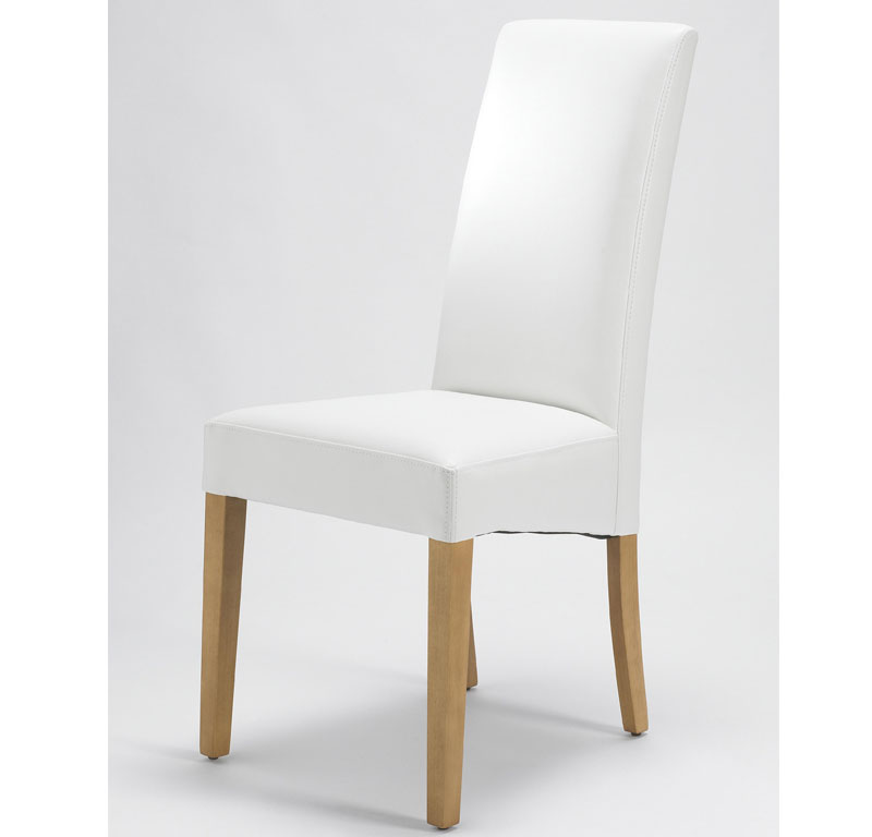 Chairs Sophia White Leather Dining Chair