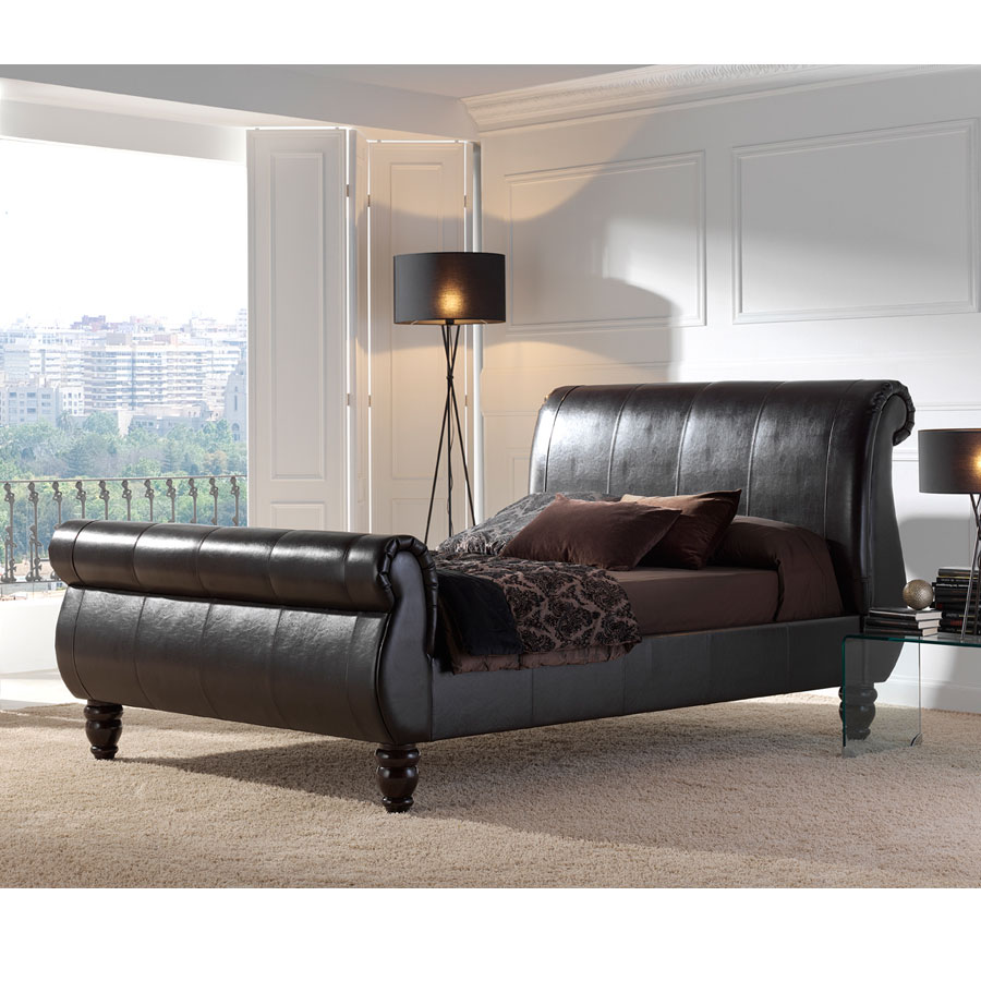 Beds Verona Leather Sleigh Bed by Kaydian Design
